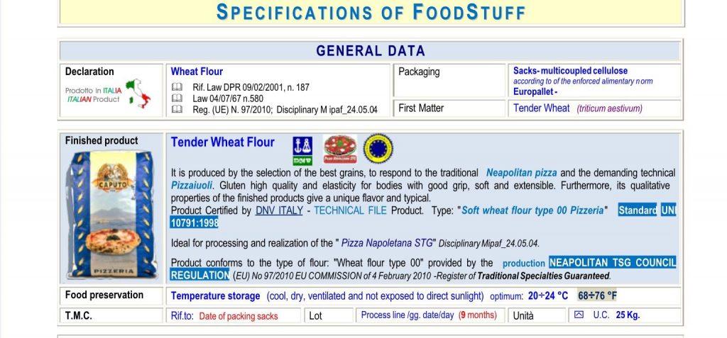 flour datasheet photo Caputo pag 2
